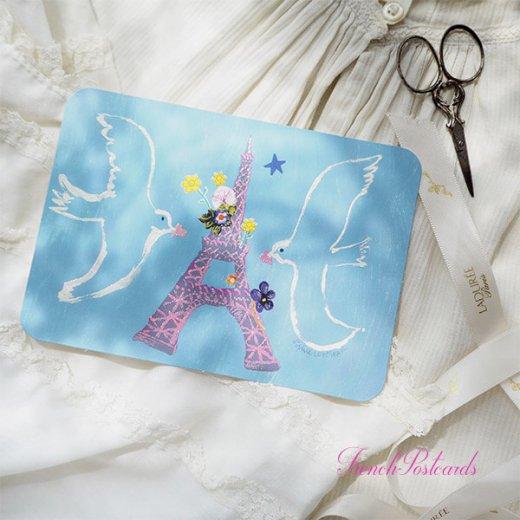 エッフェル塔 ポストカード (幸せを呼ぶハト)キラキラ加工付き【画像3】