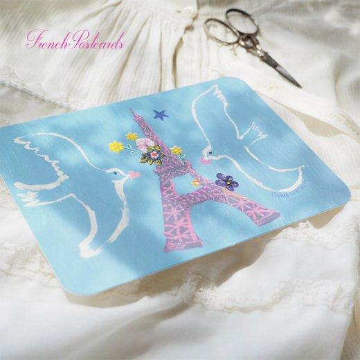 エッフェル塔 ポストカード (幸せを呼ぶハト)キラキラ加工付き【画像6】