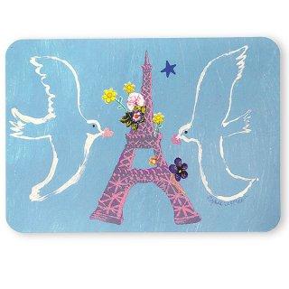 エッフェル塔 ポストカード (幸せを呼ぶハト)キラキラ加工付き