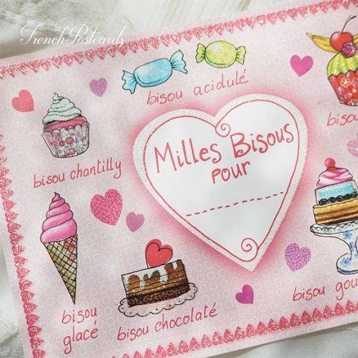 フレンチポストカード スイーツ (Milles Bisous Pour)キラキラ加工付き【画像3】
