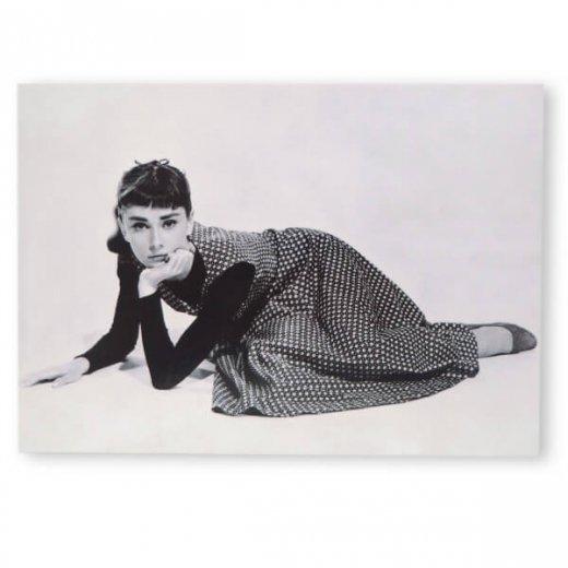フレンチ ポストカード オードリー・ヘップバーン ドット柄ワンピース (Audrey Hepburn)