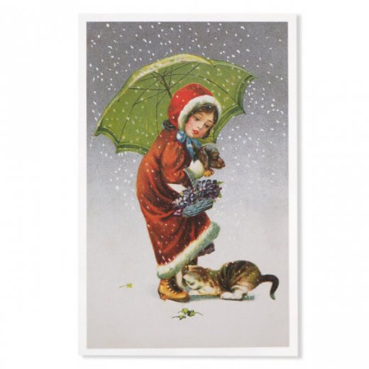フランス クリスマス ポストカード (Tu viens avec moi?)