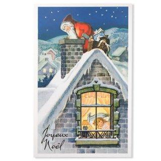 フランス クリスマス ポストカード (Cheminee et pere noel)