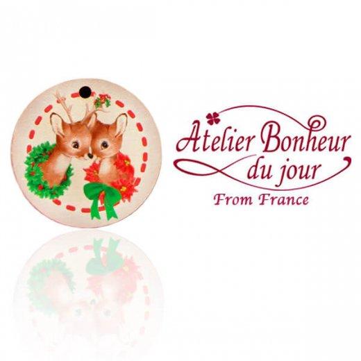 フランス輸入ボタン アトリエ・ボヌール・ドゥ・ジュール【クリスマス・子鹿】