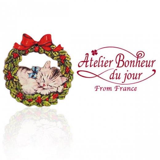 フランス輸入ボタン アトリエ・ボヌール・ドゥ・ジュール【クリスマス・ネコリース】