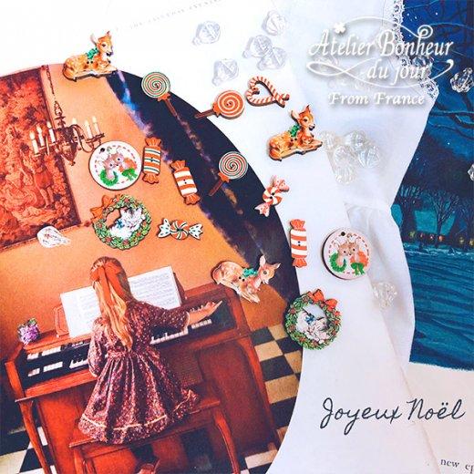 フランス輸入ボタン アトリエ・ボヌール・ドゥ・ジュール【クリスマス・ネコリース】【画像6】