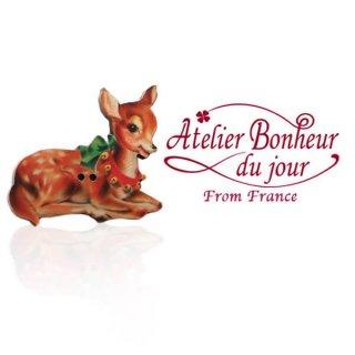 フランス輸入ボタン アトリエ・ボヌール・ドゥ・ジュール【クリスマス・リボン鹿】