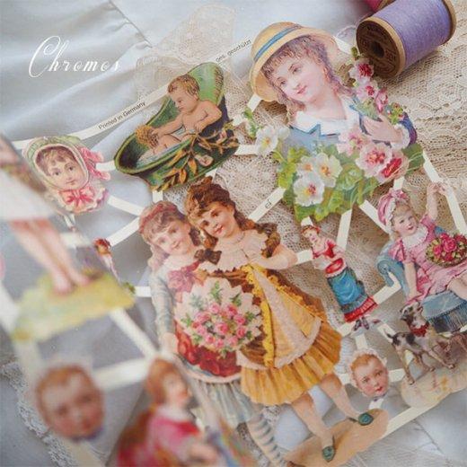 ドイツ クロモス【M】ローズ バラ リボン(中世・幼子と花)【画像2】