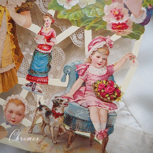 ドイツ クロモス【M】ローズ バラ リボン(中世・幼子と花)【画像3】