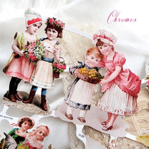 ドイツ クロモス【M】ローズ バラ レース 鳥(ヴィクトリア朝 中世・幼子と花)【画像2】