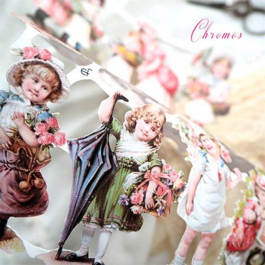 ドイツ クロモス【M】ローズ バラ レース 鳥(ヴィクトリア朝 中世・幼子と花)【画像4】