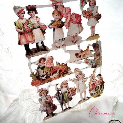 ドイツ クロモス【M】ローズ バラ レース 鳥(ヴィクトリア朝 中世・幼子と花)【画像5】