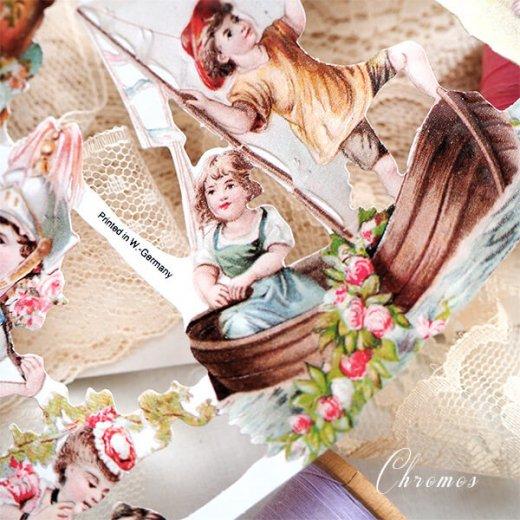ドイツ クロモス【M】ローズ バラ レース 鳥(ヴィクトリア朝 中世・幼子と花)【画像7】