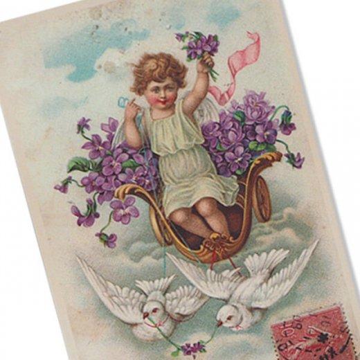 フランス ポストカード スミレ Pigeon et ange【幸福の鳩 天使】【画像2】