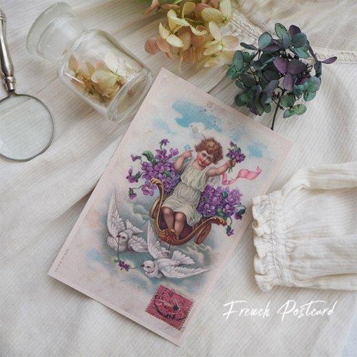 フランス ポストカード スミレ Pigeon et ange【幸福の鳩 天使】【画像3】