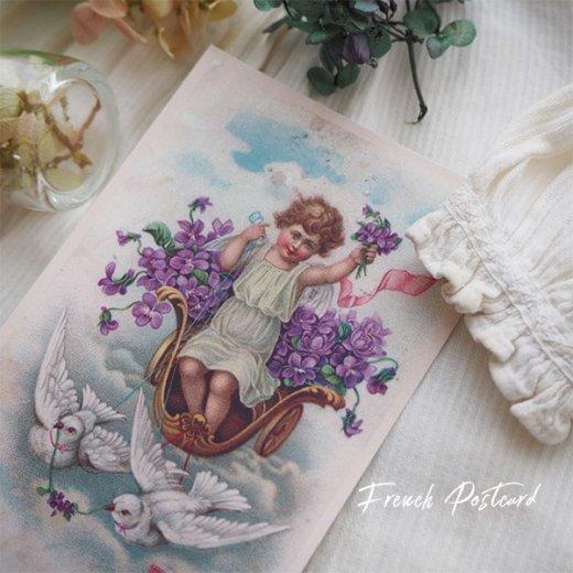 フランス ポストカード スミレ Pigeon et ange【幸福の鳩 天使】【画像4】