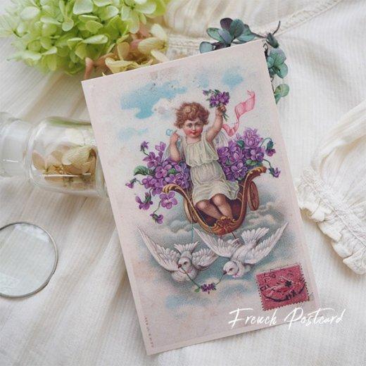 フランス ポストカード スミレ Pigeon et ange【幸福の鳩 天使】【画像6】