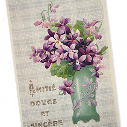 フランス ポストカード スミレ グリーンフラワーベース【Amitie douce et sincer】【画像2】