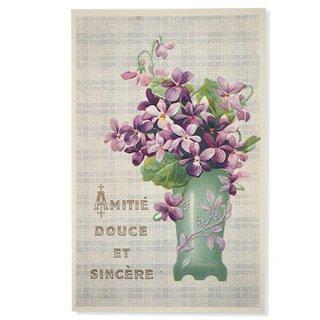 フランス ポストカード スミレ グリーンフラワーベース【Amitie douce et sincer】