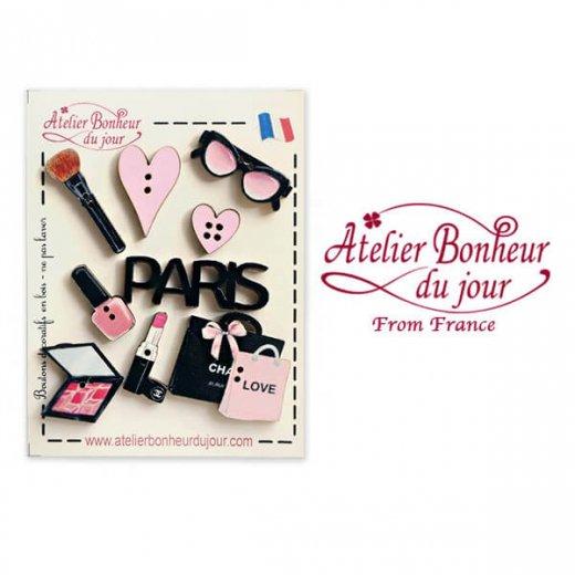 フランス輸入ボタン アトリエ・ボヌール・ドゥ・ジュール【お得な ボタン セット・コスメ PARIS LOVE】