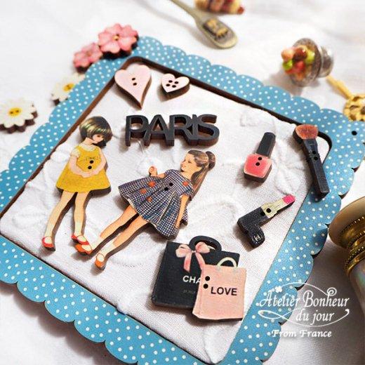 フランス輸入ボタン アトリエ・ボヌール・ドゥ・ジュール【お得な ボタン セット・コスメ PARIS LOVE】【画像6】