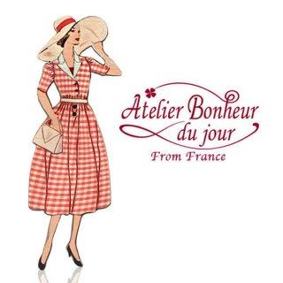 バラ ローズ 雑貨 フランス輸入ボタン アトリエ・ボヌール・ドゥ・ジュール【赤チェックのワンピース】
