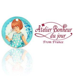 バラ ローズ 雑貨 フランス輸入ボタン アトリエ・ボヌール・ドゥ・ジュール【丸ボタン ブルー 女の子】