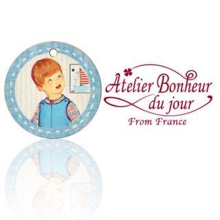 フランス輸入ボタン アトリエ・ボヌール・ドゥ・ジュール フランス輸入ボタン アトリエ・ボヌール・ドゥ・ジュール【丸ボタン ブルー 男の子】