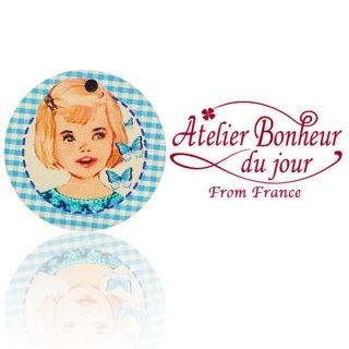 輸入ボタン アトリエ・ボヌール フランス輸入ボタン アトリエ・ボヌール・ドゥ・ジュール【丸ボタン ブルーチェック 女の子】