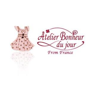 輸入 木製ボタン ファッション フランス輸入ボタン アトリエ・ボヌール・ドゥ・ジュール【ハート ピンクワンピース】