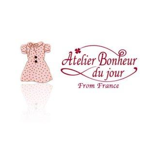 輸入 木製ボタン ファッション フランス輸入ボタン アトリエ・ボヌール・ドゥ・ジュール【ドットリボン ピンクワンピース】