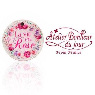 森ガール 雑貨 フランス輸入ボタン アトリエ・ボヌール・ドゥ・ジュール【丸ボタン La vie en Rose バラ色の人生】
