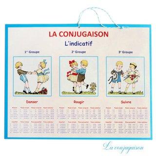 フランス製 LA CONJUGAISON 動詞活用 フランス語勉強表