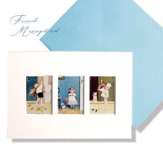 フランス ポストカード マウントボード仕様  封筒セット(花束)
