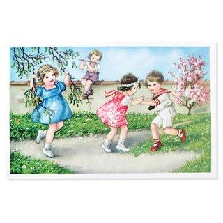 フランス ポストカード  (Jouons dans le jardin)