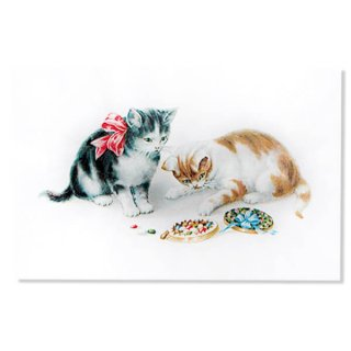 動物 アニマル柄 フランス ポストカード 猫 キャット  (Boîte de bonbons)