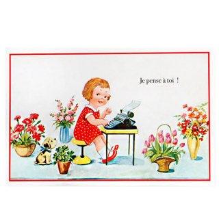 バラ ローズ 雑貨  フランス ポストカード あなたのことを思っています(Je pense a toi!)