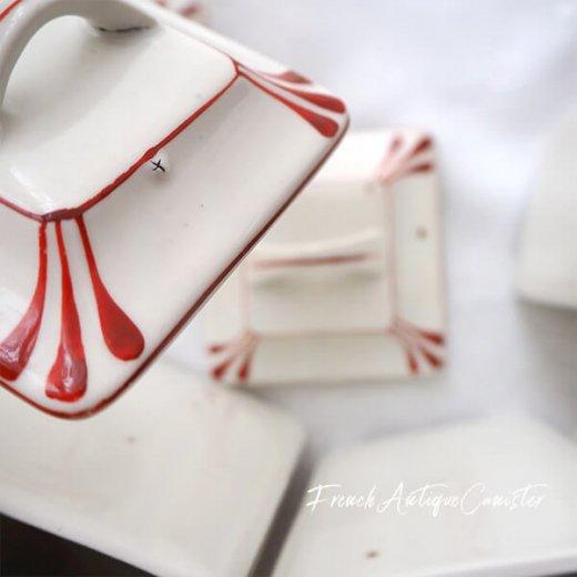【送料無料】フランス アンティーク キャニスター 陶器 ローズ 小花【4点セット】【画像4】