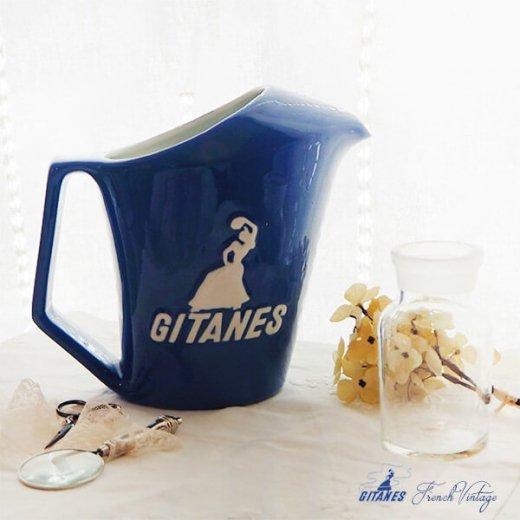 【送料無料】1960年代 フランス アンティーク カフェ フレンチパブ GITANES ピッチャー 陶器 アドバタイジング 販促品 たばこメーカー