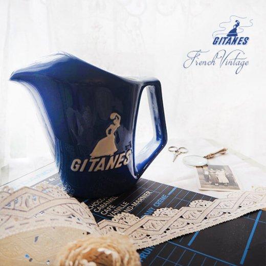 【送料無料】1960年代 フランス アンティーク カフェ フレンチパブ GITANES ピッチャー 陶器 アドバタイジング 販促品 たばこメーカー【画像3】