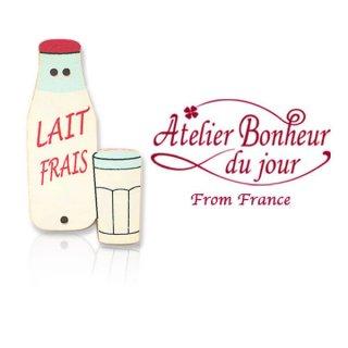 森ガール 雑貨 フランス輸入ボタン アトリエ・ボヌール・ドゥ・ジュール【ミルク瓶 LAIT FRAIS】