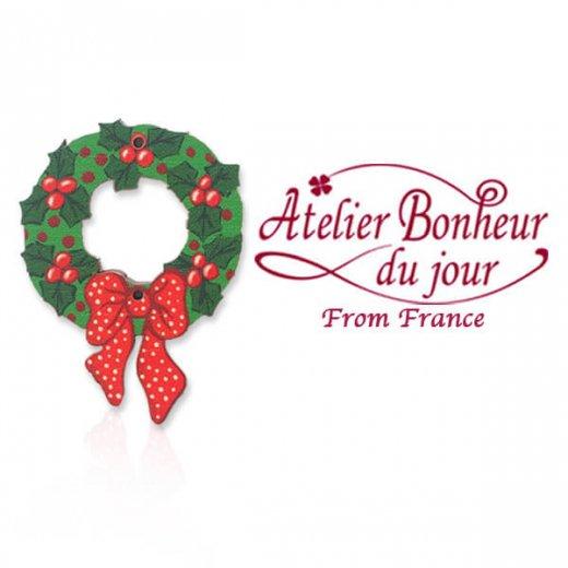 フランス輸入ボタン アトリエ・ボヌール・ドゥ・ジュール【クリスマス リボンリース】