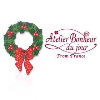 輸入 木製ボタン クリスマス フランス輸入ボタン アトリエ・ボヌール・ドゥ・ジュール【クリスマス リボンリース】