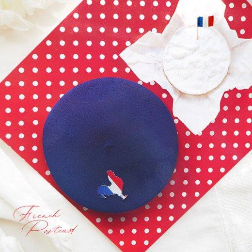 フランス ポストカード トリコロール ドット柄 ポルカ・ドット(ベレー帽 チーズ ワイン)【画像3】