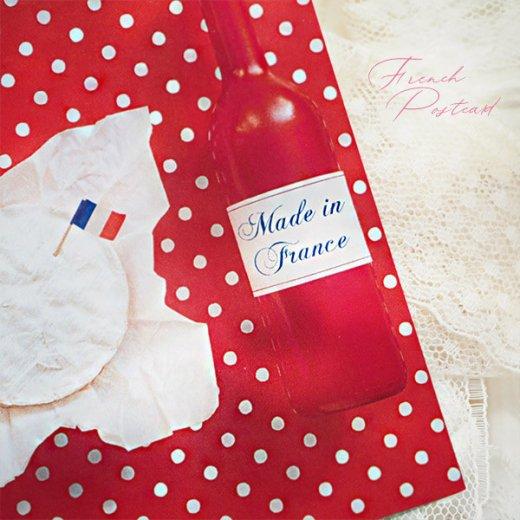 フランス ポストカード トリコロール ドット柄 ポルカ・ドット(ベレー帽 チーズ ワイン)【画像4】