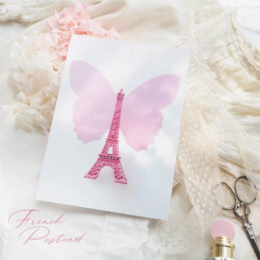 フランス ポストカード エッフェル塔  PARIS(ガーリー バタフライ)【画像3】