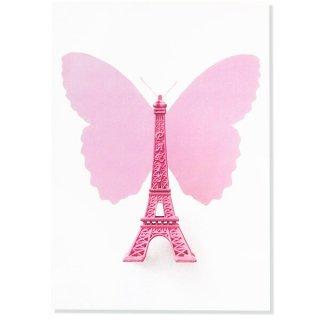 フランス ポストカード エッフェル塔  PARIS(ガーリー バタフライ)