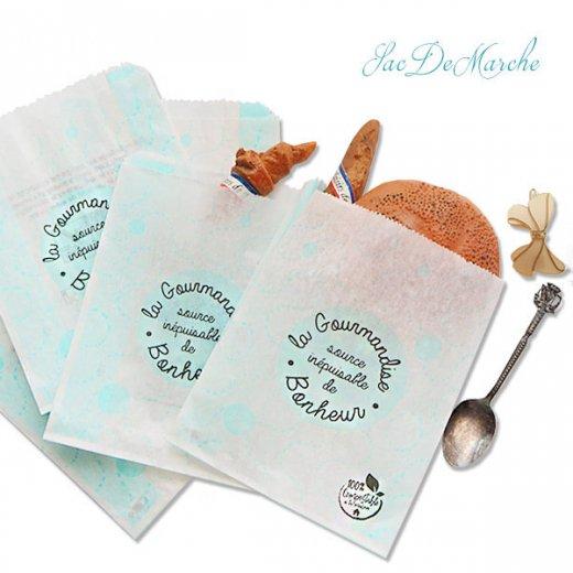 マルシェ袋 フランス 海外市場の紙袋(La gourmandise・Light blue)5枚セット