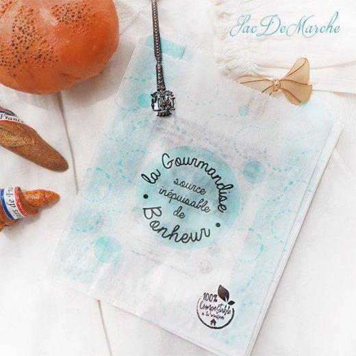 マルシェ袋 フランス 海外市場の紙袋(La gourmandise・Light blue)5枚セット【画像3】