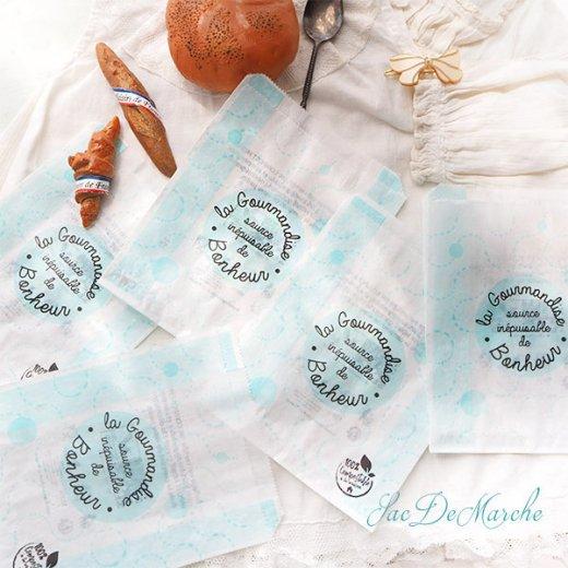 マルシェ袋 フランス 海外市場の紙袋(La gourmandise・Light blue)5枚セット【画像4】
